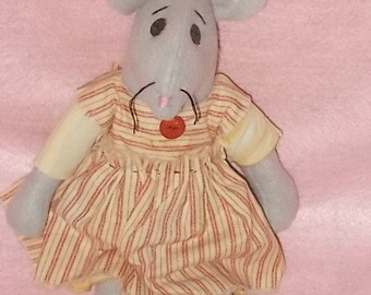 "Shabby Chic Mouse Doll....14"" Americana Vintage Style....Handmade From Gray Felt....Shabby Chic Home Decor...."