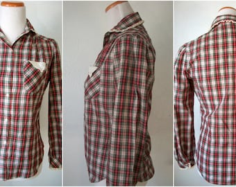 Red plaid button up shirt with peter pan collar and lace - made by Langtry