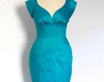 Jade Green Silk Pencil Dress - Made by Dig For Victory