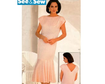 80s EASY Dropped Waist Flounced Hem Dress Pattern See & Sew 5565 1920s Flapper Style Dress Cap Sleeves V Back Size 6 8 10