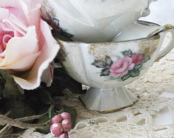 Demitasse Rose Tea Cups. Mother of Pearl Handpainted Tea Cups. Shabby Cottage. French Farmhouse