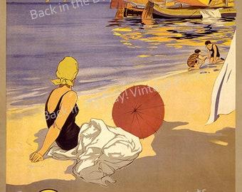 "Beaches, Vintage Advertising Travel Poster ""Cattolica Adriatico"" c1920"