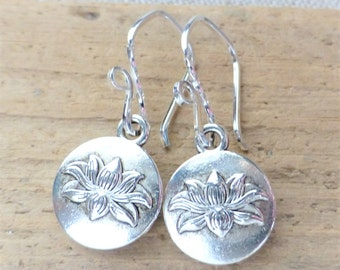 Lotus Flower Earrings, Silver Lotus Charm Drop Earrings, Sterling Silver, Zen, Yoga Jewelry, Waterlily, Spiritual, Buddha, Gift for Her