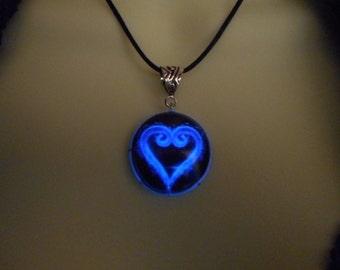 Glow-in-the-Dark Jewelry, Kairi Kingdom Heart Necklace, Silver or Soft Black Cord - 8 hour glow!