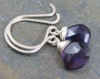 African Amethyst Briolette Earrings - Faceted Tear Drops -  Sterling Silver Hook Earrings