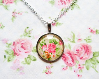 Vintage Rose/Flower Glass Cabochon Pendant Necklace, Pretty, Pink, Glass Cabochon, Pendant, Necklace / Photo Glass, Gifts for Her