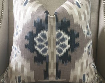 "F. Schumacher  ""Kiribati Ikat"" print in linen - 20""X20"" - Pattern on the front"