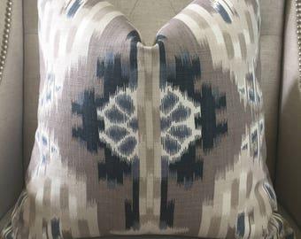 """F. Schumacher  """"Kiribati Ikat"""" print in linen - 20""""X20"""" - Pattern on the front"""