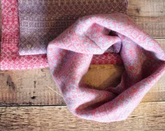 Special Offer- snood, Fair Isle snood, infinity scarf, loop scarf, pink snood, pretty, cycle, wool, snood, lambswool, soft, warm, pattern