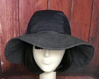 Wide Brim Hat Denim, Sun Hat, Boho Hat, Floppy Hat, Travel Hat, Packable Hat, Hippie Hat, 70s Hat, Summer Hat, Festival Hat, Denim Hat