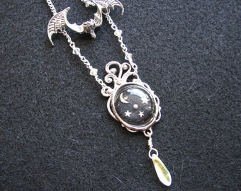 Bat necklace | moon and stars | resin | sterling silver | gothic | crystal