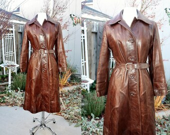1970's Brown Leather Coat Belted Size 12 Small Medium Vintage Retro 70's Hipster Urban Trench Pointed Collar