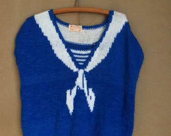 WEEKEND SALE! vintage 80's Trompe l'Oeil sweater / cap sleeve / royal blue with white ribbon / loose knit / chic