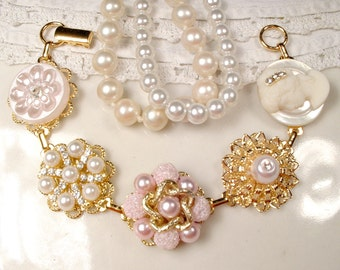 OOAK Blush Pink, Ivory Pearl & Rhinestone Gold Bridal Bracelet, Vintage Wedding Cluster Earring Bracelet, Bridesmaid Jewelry Gift 1950 1960