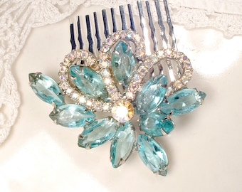 OOAK Vintage Aqua Blue Rhinestone Bridal Hair Comb, Silver Turquoise Crystal Brooch to Hairpiece, Wedding Headpiece Rustic Country
