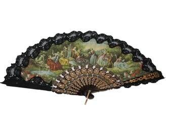 Vintage Fabric and Black Lace Folding Hand Fan - Victorian Garden Scene  (310-2)
