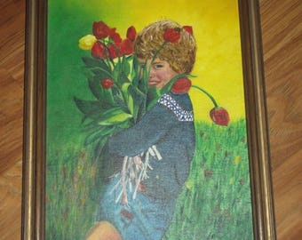 CS 1979 Signed Art 9x12 Original Oil Painting Child with Tulips