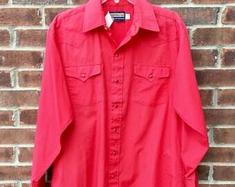 Vintage Men's Panhandle Slim Red Cowboy Shirt - XL