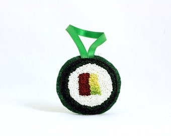 Tuna Avocado Roll Sushi Christmas Ornament. Punchneedle. Food Art. Gift for Foodie