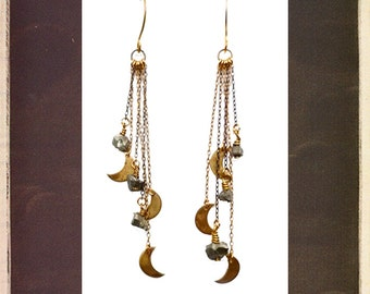Comet earrings | Tiny brass crescent moons and pyrite crystals with delicate vintage chains