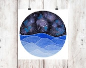 The Taurus Constellation above an ocean of waves watercolor print, Galaxy Art, Zodiac Print, Taurus Painting, Taurus Print Digital Download