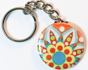 "Funky Patterned Sealed Material Keychain, Fun Button Keychain - 1.5"" (1 1/2 inch, 38mm)"