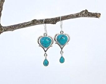 Turquoise Earrings, Drop Earrings, Bohemian Jewelry, Artisan Jewelry, Handmade Jewelry, Long Earrings, Unique Earrings, Handmade Earrings