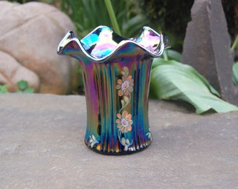 Fenton Iridescent Ruffled Ribbed Hand Painted Vase w/ Flowers by B. Williams; Purple Iridescent Fenton Hand Painted Vase by Brenda Williams