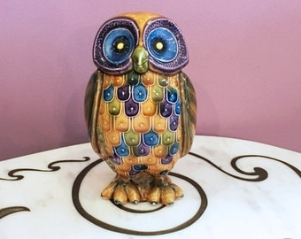 Vintage 60s 70s Owl Figurine Glazed Ceramic Bird Statue Yellow Blue
