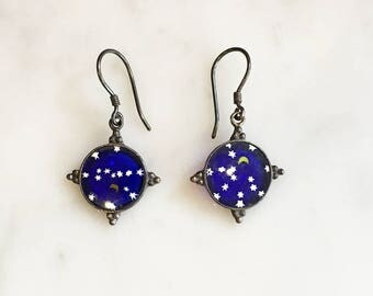 Vintage 90s Artisan Sterling Silver Art Glass Earrings Moon and Stars Jewelry