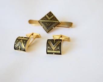 Vintage Damascene Money Clip and Cuff Link Gift Set c.1960s