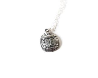 Antique Egyptian Revival Coin Silver Scarab Charm 900 Silver