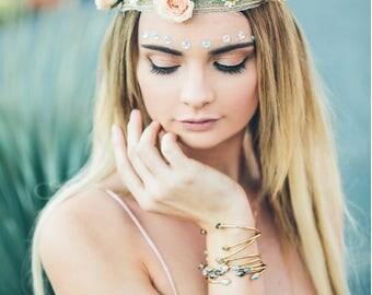Dainty Gold Cuff Bracelet, White Sapphire Bracelet, White Silverite, Delicate Gold Bracelet, Joy Dravecky