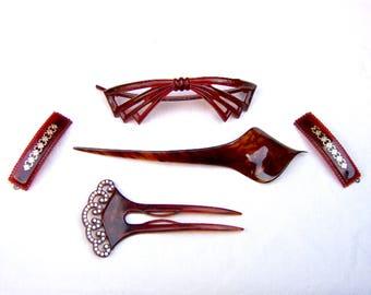 5 Faux tortoiseshell hair accessories hair comb hair pick hair barrette hair jewelry decorative comb hair pin