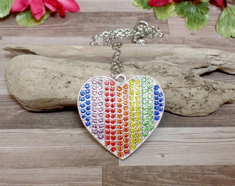 Rainbow Rhinestone Heart Necklace - Heart Necklace
