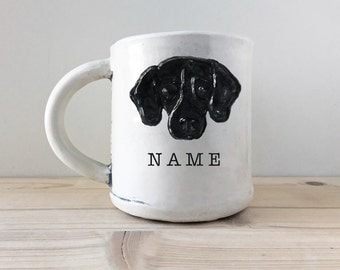 Graphic Pet Portrait Mug with name | created from your photo | personalized custom pet gift | dog cat pet animal lover coffee mug tea cup