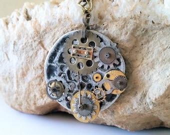 Large Steampunk Clockwork Statement Necklace