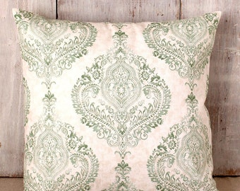Celadon Green Damask Pillow Cover, Green Throw PIllow Cover, Green, Ivory, Tan, French, Shabby Cottage Chic, Traditional