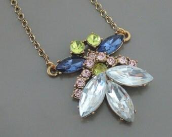 Statement Necklace - Rhinestone Necklace - Sapphire Blue Necklace - Flower Necklace - Pendant Necklace - Upcycle Necklace - Handmade Jewelry