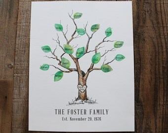 Custom Family Tree, Watercolor family tree, Anniversary Gift, Family Tree, Grandparent gift, Holiday Gift guide, Rustic tree, Rustic home
