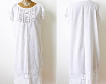 Antique Edwardian white Cotton Dress/White slip/Filet Lace