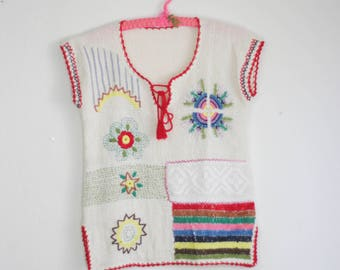 Unique Hand Stiched Embroidered Hippie Gauze Knit Lace Tunic Top Blouse Boho 60s