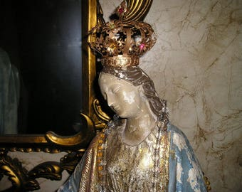 "Elaborate EXLG. 26"" Virgin Mary/Madonna Religious Devotional Detailed,Painted Crownned Plaster Statue w/Rosary. and Lamb.Fab."