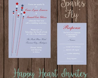 Fourth of July Wedding Invitation - Sparks Fly Printed - Customizable - 5x7 - Patriotic - July 4th - Red, White, Blue - Summer