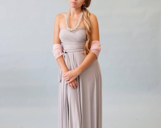 "Ready Made- 44"" Standard Nantucket Fog Grey Satin Jersey- Infinity Convertible Wrap Maxi Dress"