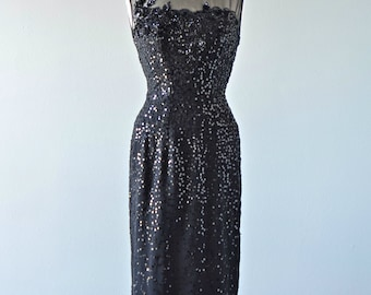 1960s Cocktail Dress...Vintage FRANK STARR Black Sequin Cocktail Dress Party Dress