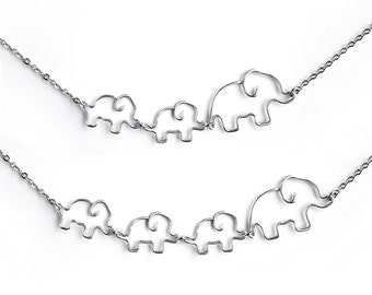 Mom Jewelry - Mother and Baby Elephants Necklace, Mom of Twins Jewelry, Two Baby Elephants, Three Baby Elephants