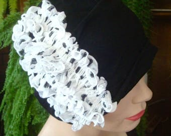 Womens Chemo Hat soft hat black headcover chemo gift with white spot ruffle