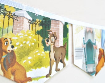 LADY and THE TRAMP Banner Vintage Little Golden Book Bunting Children Paper Party Decoration nursery story book eco friendly re-purposed