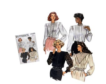 Misses Blouse Pattern Vintage Butterick 4522 Misses Size 6 8 10 Uncut Sewing Pattern 80's Fashion DIY Loose Fitting Shirt Ladies Formal Top
